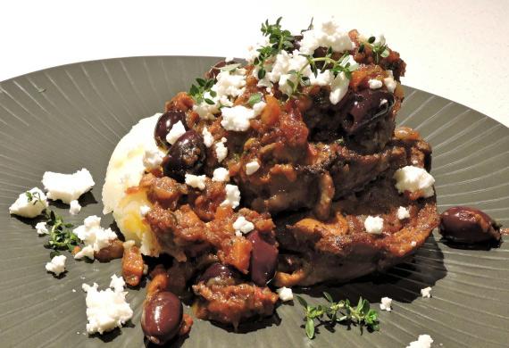 Greek lamb neck stew with skordalia