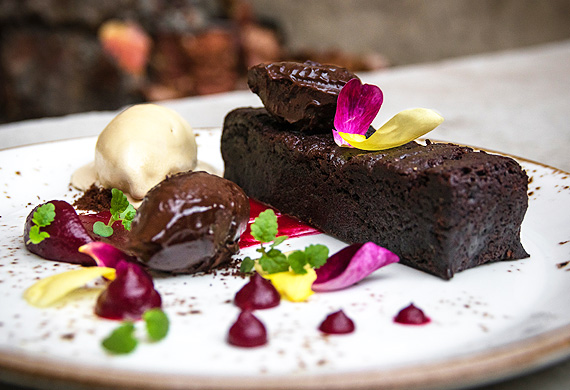 Warm vegan and gluten-free brownie with salted coconut sorbet