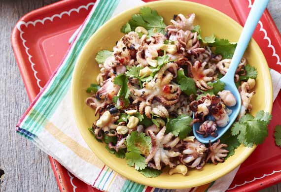 Weight Watchers' barbecued octopus with coriander and sweet chilli