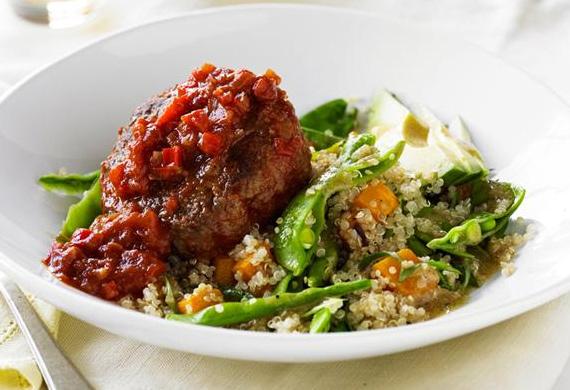 Spanish beef rissoles with quinoa salad