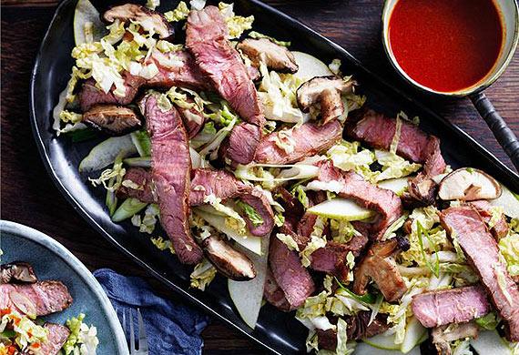Korean beef, cabbage and mushroom salad with gochujang dressing