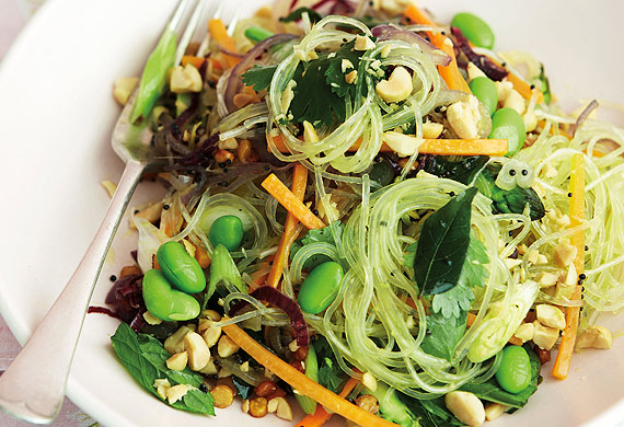 Anjum Anand's stir-fried summer veg vermicelli with peanuts