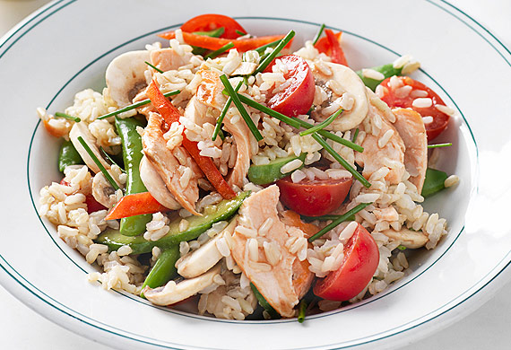 Weight Watchers' grilled salmon salad with brown rice