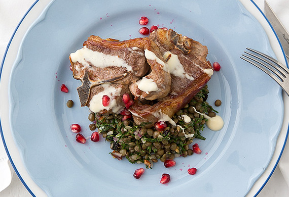 George Calombaris' lamb loin chops with a Cypriot grain salad