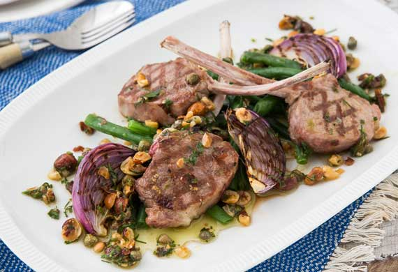 George Calombaris' lamb cutlets with chargrilled beans