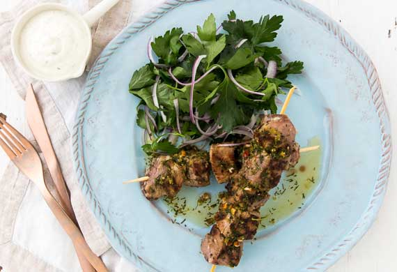 George Calombaris' lamb kalamaki with dill sauce