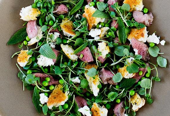 Warm grilled lamb, pea, mint and feta torn herb bread salad