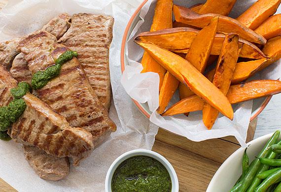 Nadia Lim's chimichurri steak with sweet potato wedges