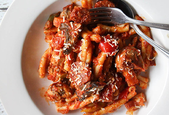 Liliana Battle's casarecce with chicken chorizo cacciatore