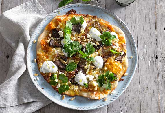 Moroccan lamb crispy crust pizza