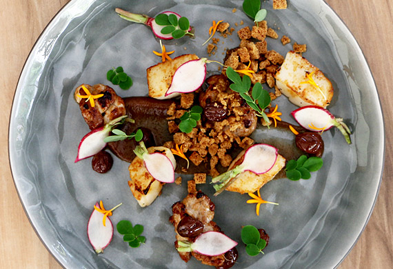 Spencer Patrick's malt-roasted scallops and veal sweetbreads