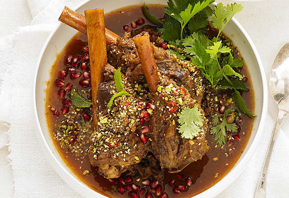 Teena Ebejer's lamb shanks with pomegranate and dukkah