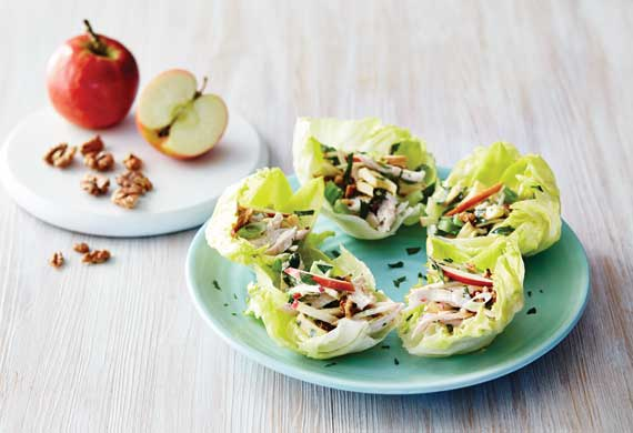 Pink lady waldorf salad with chicken and toasted walnuts