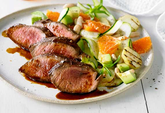 Peruvian-style flank steak with orange and potato salad
