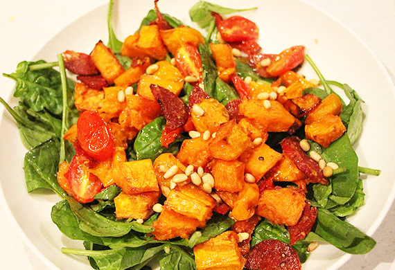 Liliana Battle's roasted pumpkin, tomato, salami and pine nut salad