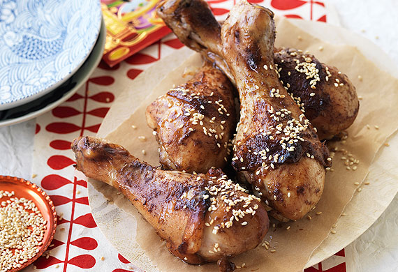 Hoisin and honey-baked chicken drumsticks