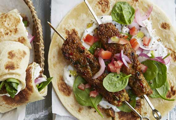 Anjum Anand's grilled chickpea seekh kebab wraps