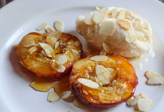 Liliana Battle's honey roasted peaches with toasted almonds