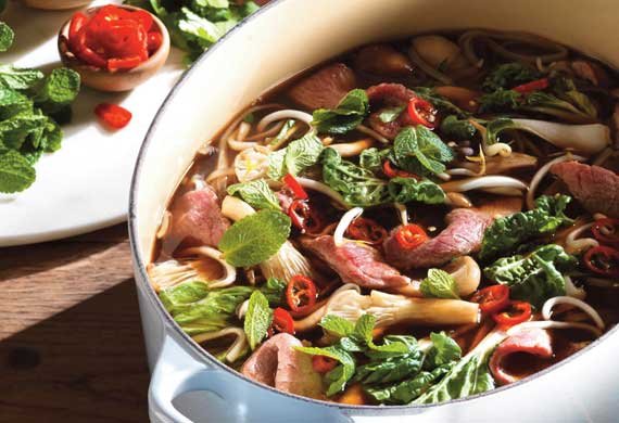 Vietnamese beef pho with noodles