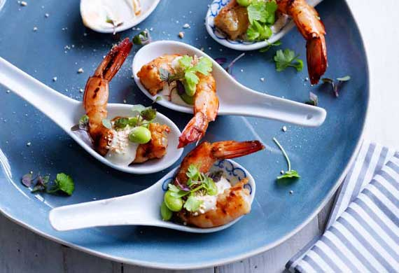 Hayden Quinn's grilled ginger prawns with yuzu mayo, soy beans and roast ground rice