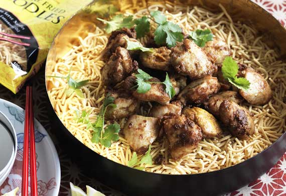 Malaysian fried chicken noodle salad
