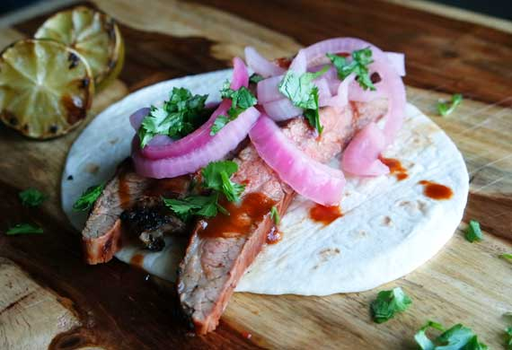 Monday: Vegemite flank steak tacos