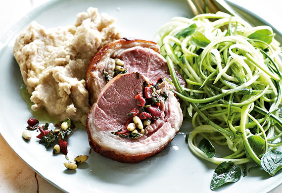 Lamb loin roast on white bean mash with zucchini salad