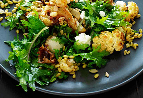 Cauliflower, freekah and goat's cheese salad