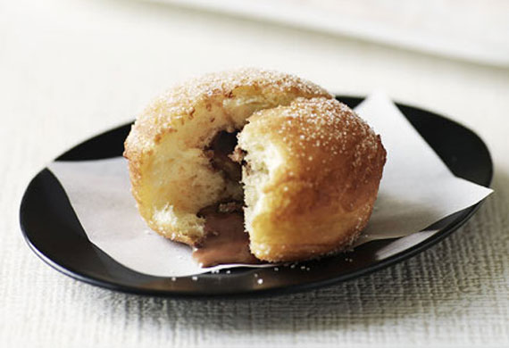 Milk chocolate-filled cinnamon doughnuts