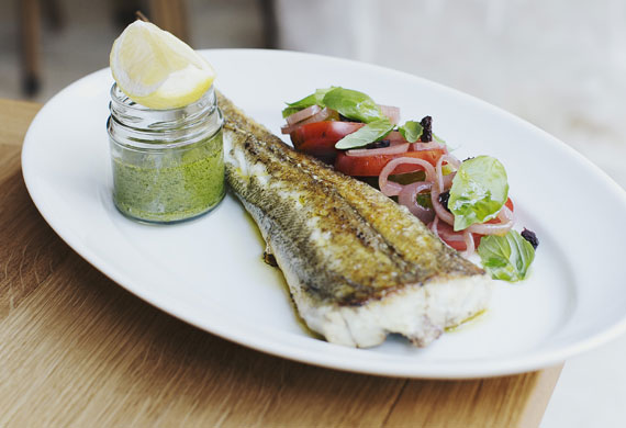 The Fish Shop's whole flathead with mint and parsley sauce