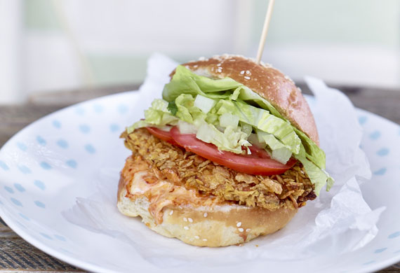 Corn Flakes chicken burger