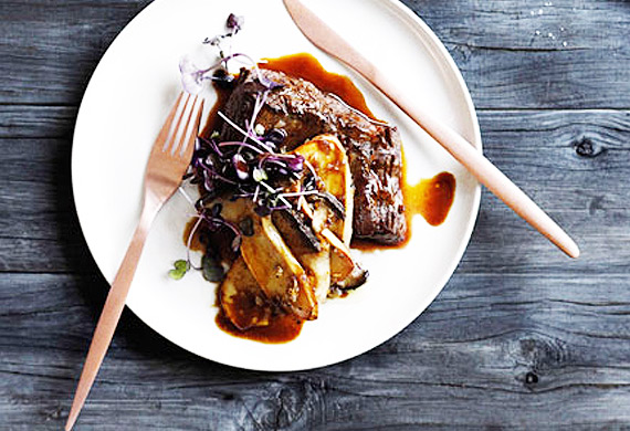 Pan-fried flank with madeira sauce