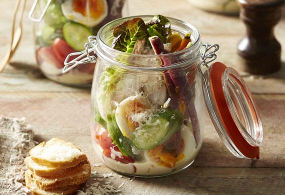 Chicken caesar salad jars