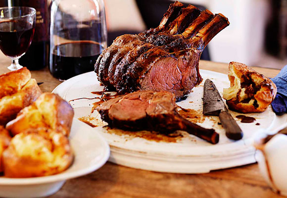 Classic roast rib of beef with Yorkshire pudding