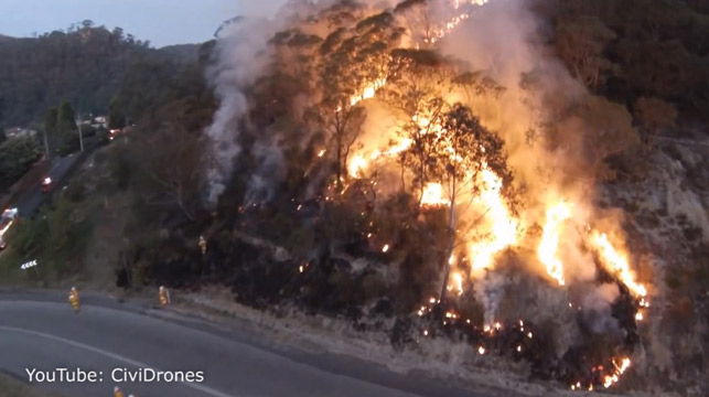 Blue Mountains fires: Drone shows incredible contrast between burning bush and regeneration