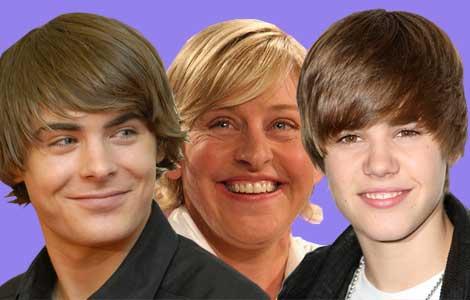 Justin Bieber, Zac Efron, Ellen DeGeneres