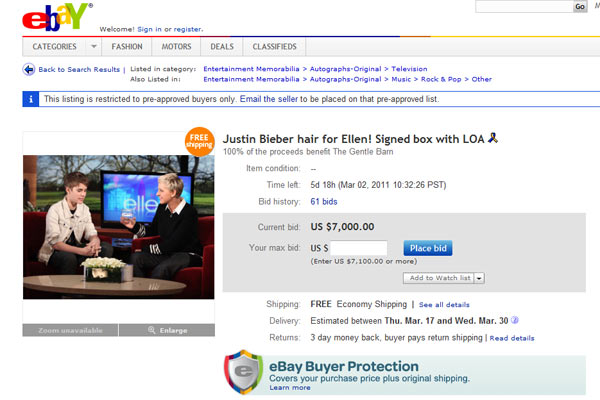 Justin Bieber's hair on ebay