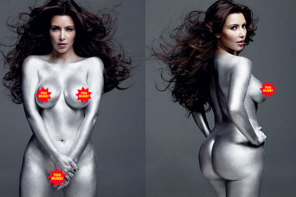 "Kim Kardashian posed naked and covered in silver body paint for an issue of <i>W Magazine</i> and was so surprised when she appeared naked and covered in silver body paint in an issue of <i>W Magazine</i> that she broke down in tears (in a 2011 episode of <i>Kourtney and Kim take New York</i>). ""Oh my God, I'm more naked than I was in <i>Playboy</i>,"" she sobbed. ""[The magazine] promised I would be covered with artwork — you can see nipple!"" Yes, we could. The pics were released in 2010, but trust Kim K to milk it for two years' worth of attention."