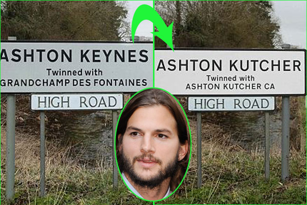 Video: WTF: English villages renamed 'Ashton Kutcher'