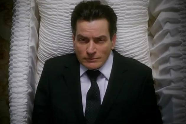 Charlie Sheen in a coffin for new show <i>Anger Management</i>