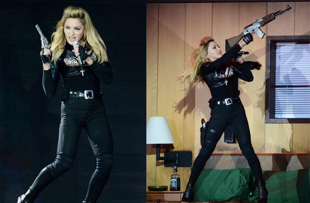 'Crass and insensitive': Madonna waved fake guns on stage hours after Batman massacre