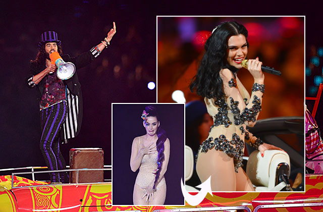 Olympic closing ceremony: Who let Russell Brand sing? And is Jessie J morphing into nude body-suited Katy Perry?