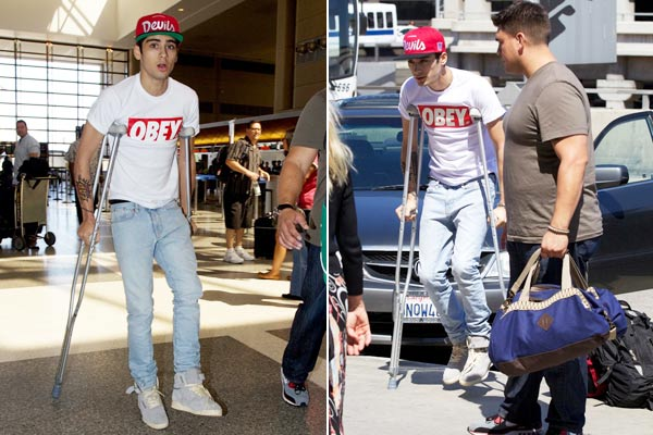 One Direction's Zayn injured, on crutches after partying with Justin Bieber