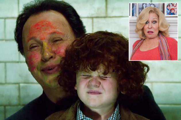 Too-cute: Billy Crystal helps kid do a number two in Parental Guidance - and Bette Midler's looking youthful!
