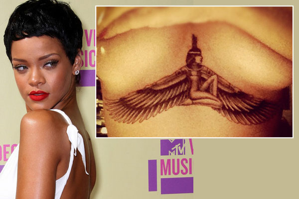 Rihanna shows off her new underboob tattoo
