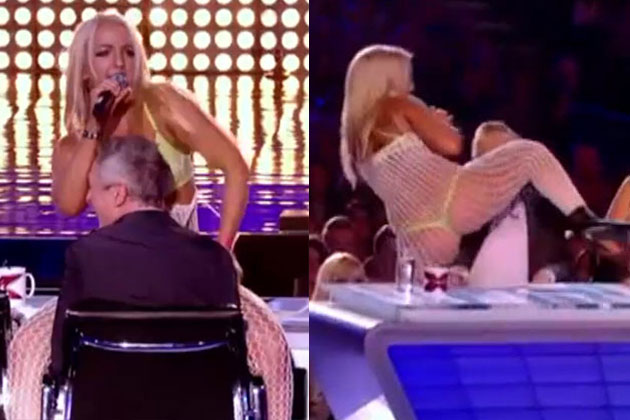 Watch: Britney impersonator gives <i>X Factor UK</i> judge a lap dance in bodystocking