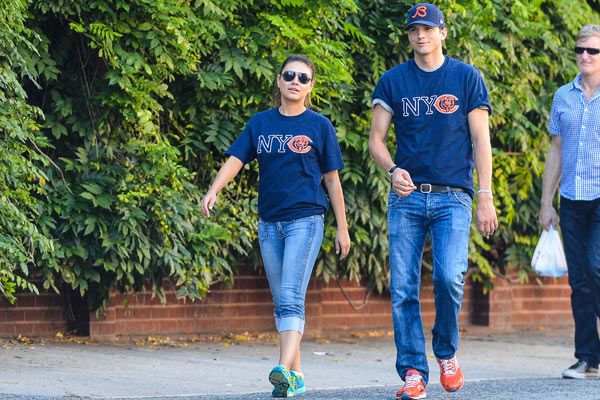 Too cute: Ashton Kutcher and Mila Kunis coordinate their outfits