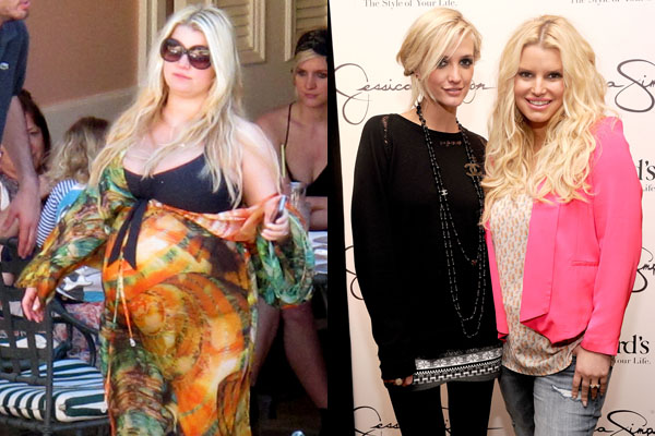 Before: Heavily pregnant Jessica Simpson/After: Slimmed down Jess with sister Ashlee