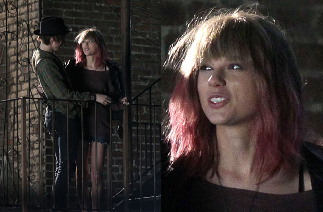 Taylor Swift on the set of her new music video