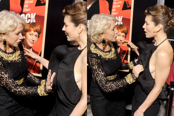 Helen Mirren grabs Jessica Biel's boobs on the red carpet